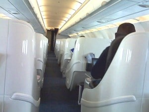 This Airbus A318 cabin has seating for just 32 passengers