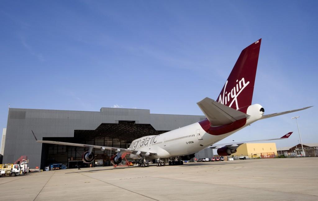 Virgin Atlantic 747 aircraft ready for refit at Gatwick