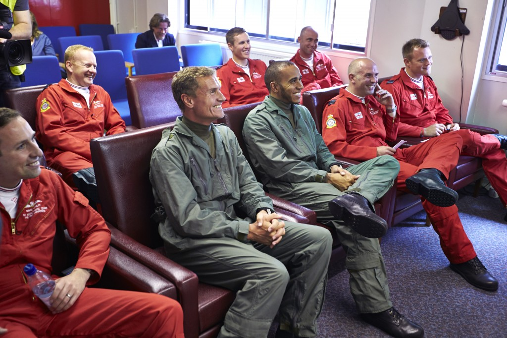 Lewis Hamilton and David Coulthard join the RAF Red Arrows briefing