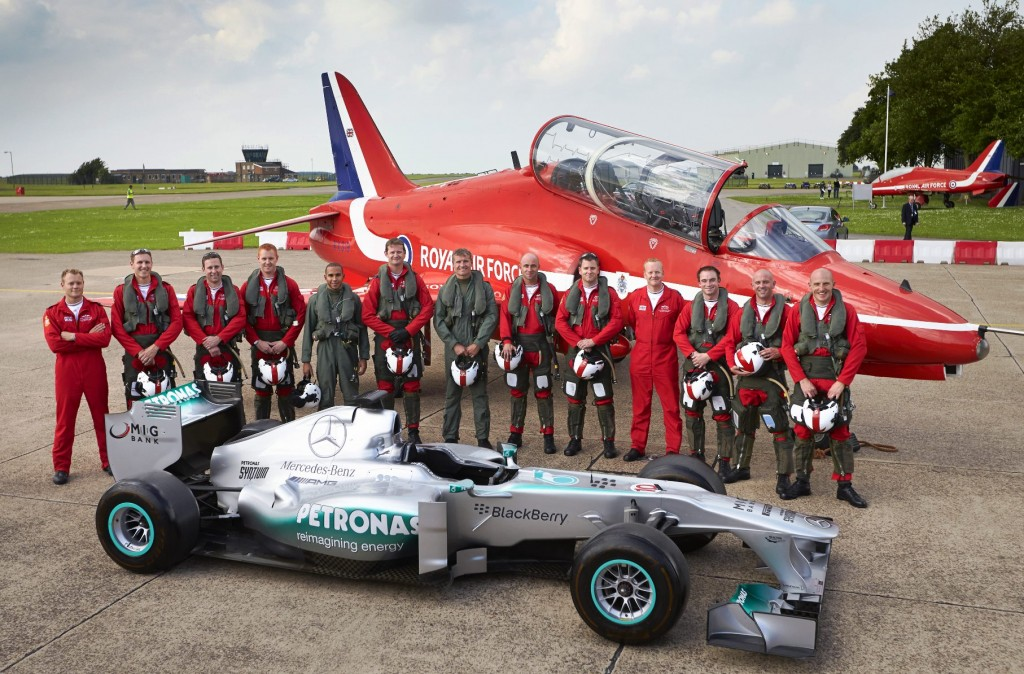 Red Arrow meets Silver Arrow as Lewis Hamilton, a Mercedes AMG F1 car and David Coulthard, spend a day with the RAF Red Arrows