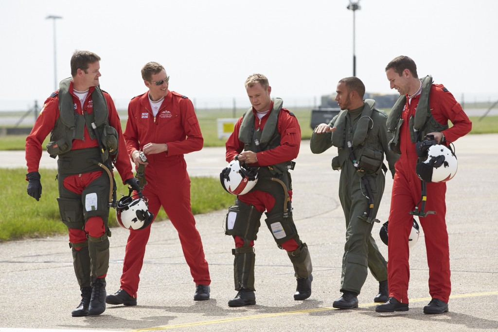 Lewis Hamilton and the RAF Red Arrows pilots