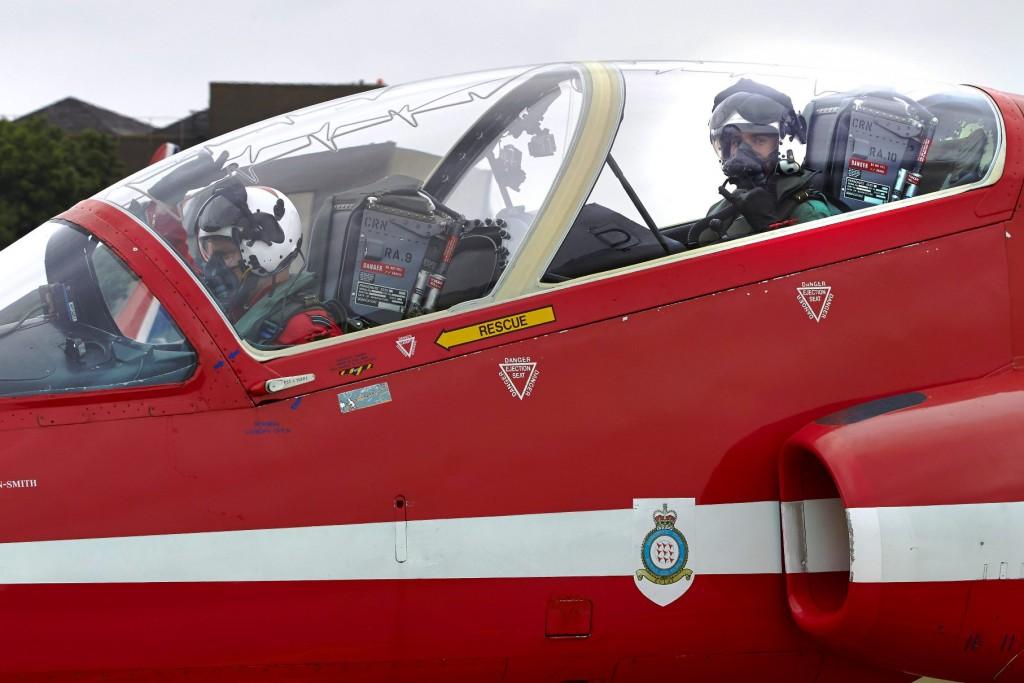 Lewis Hamilton in the RAF Red Arrow cockpit