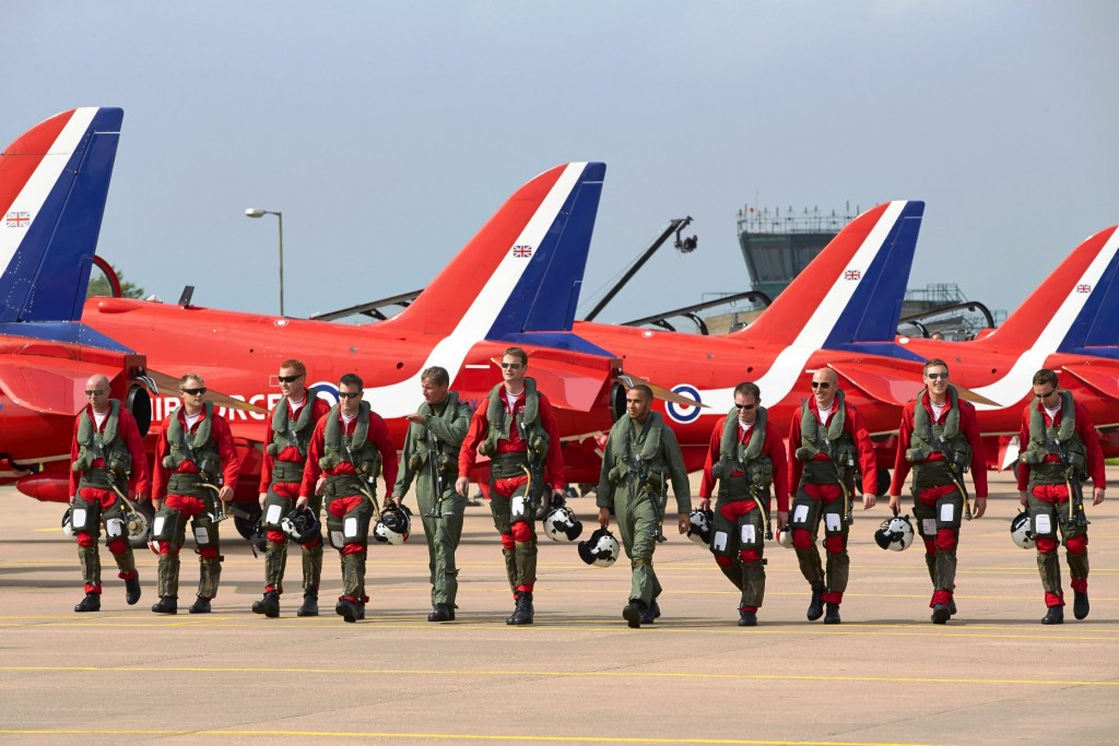Top Gun - Red Arrows meets Silver Arrow as F1 Mercedes AMG driver Lewis Hamilton and David Coulthard join the RAF Display Team for a day