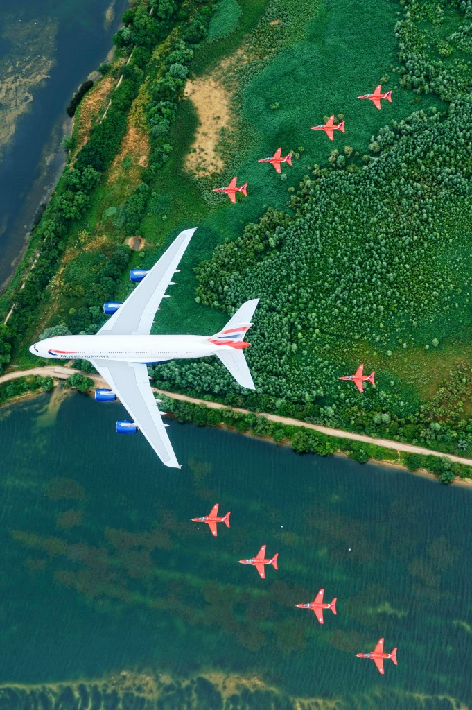 Red Arrows and British Airways' A380