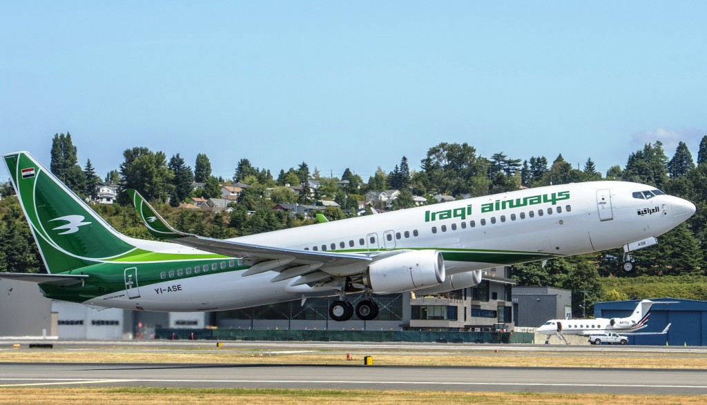 New Iraqi Airways Boeing Next-Generation 737-800 airliner takes off