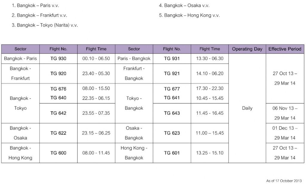 Thai Airways A380 Flight Schedule