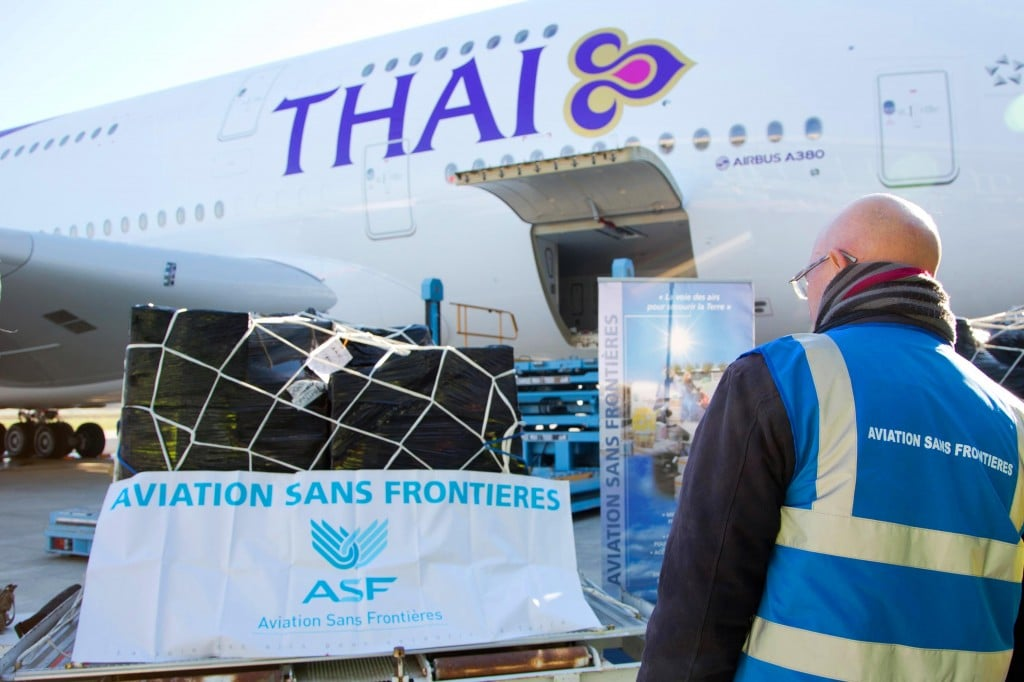 Airbus Corporate Foundation and Aviation Sans Frontières send clothing and school supplies to Thailand on THAI's newest A380
