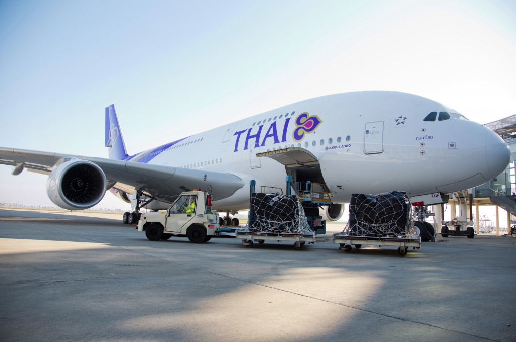 Loading THAI's newest A380