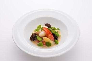 JAL Business Class inflight food seafood dish