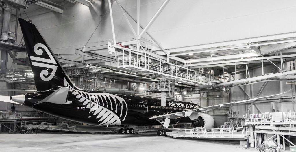 Air New Zealand 787-9 in Boeing paint hangar before rollout