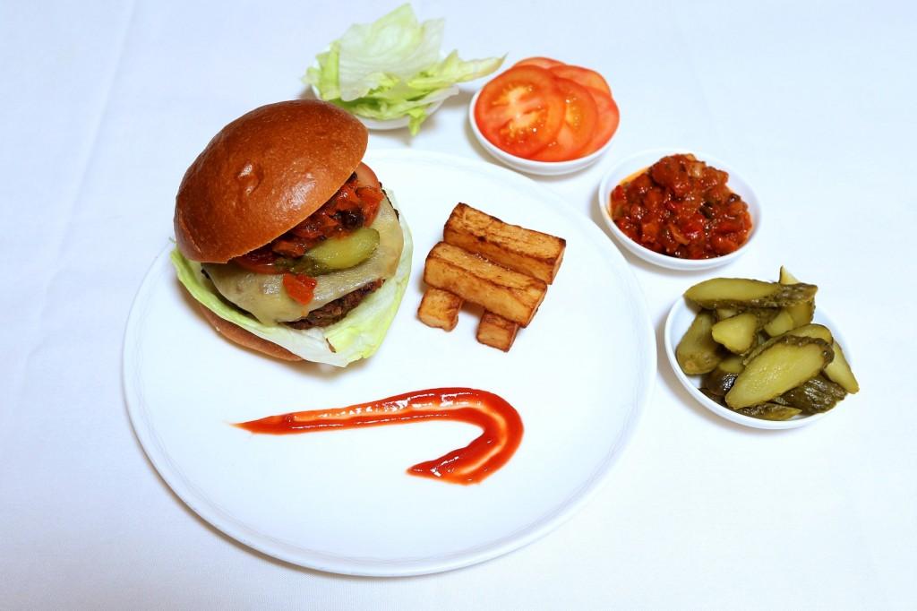 BA burger and chips