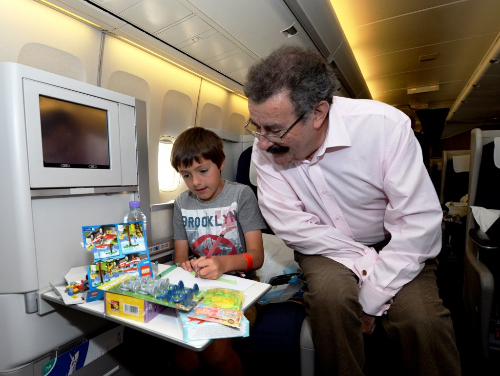 What toys to take on a plane - Finn Garrett 9 and Lord Robert Winston