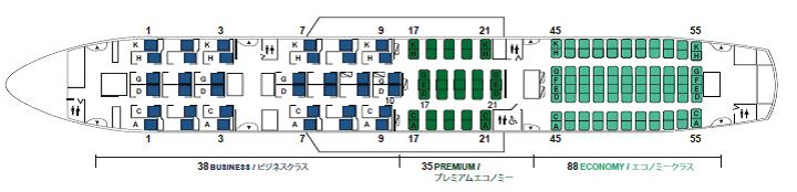 JAL 787 Cabin Seat Layout