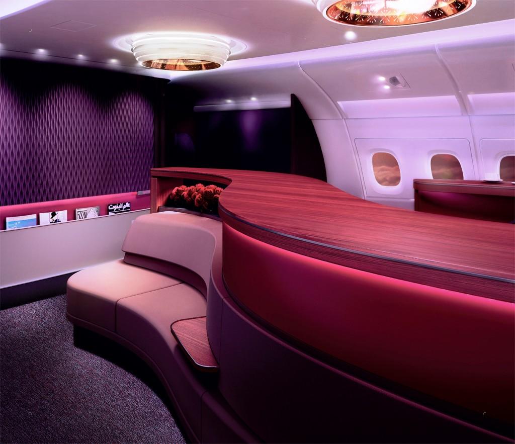 Qatar Airways A380 First Class Onboard Lounge