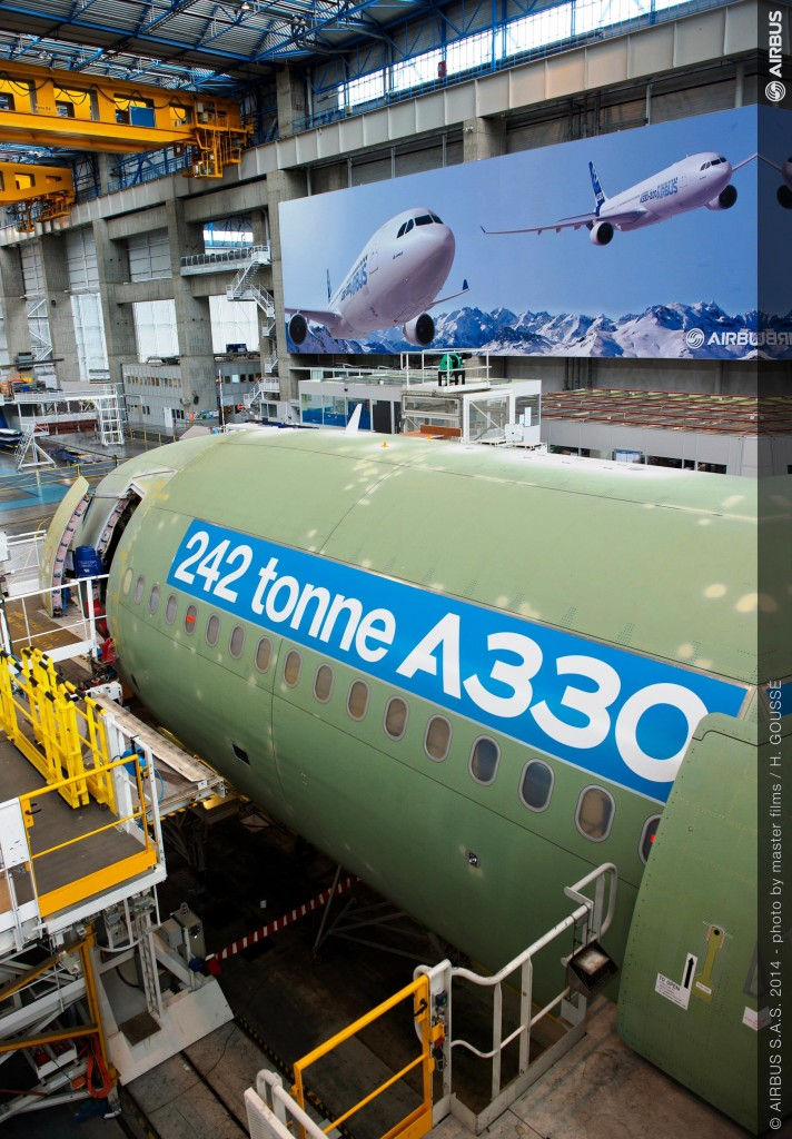 First Airbus A330 with new 242 tonne take off weight begins assembly