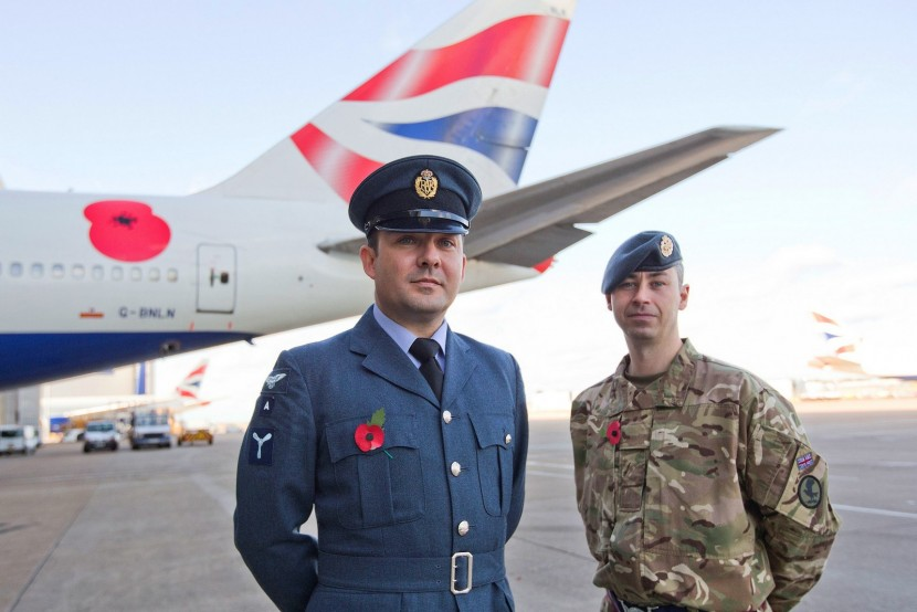 Remembrance Poppy in plane sight for British Airways 747 passengers