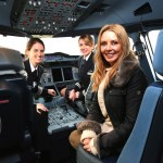 Carol Vorderman with British Airways airline pilots
