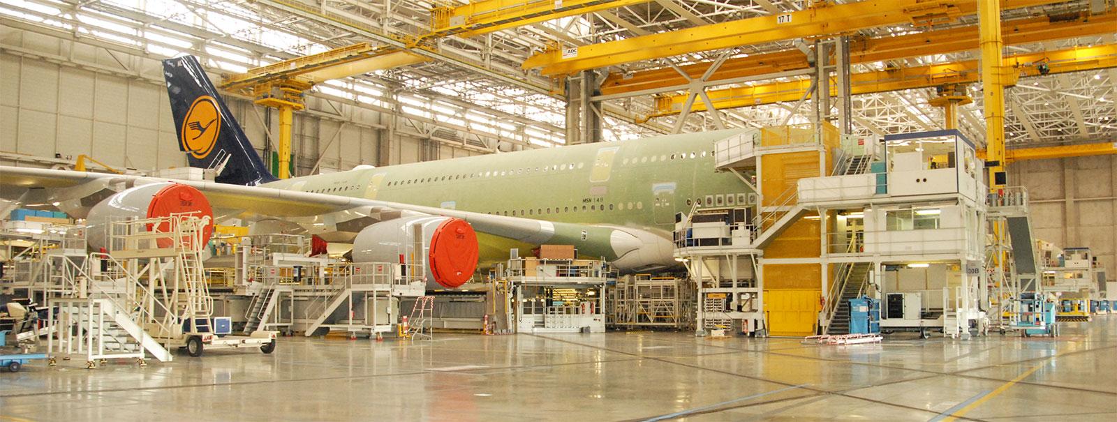 Lufthansa A380 being assembled