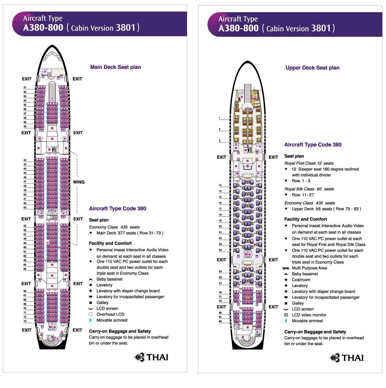 Thai Airways A380-800 Cabin Seating Plan