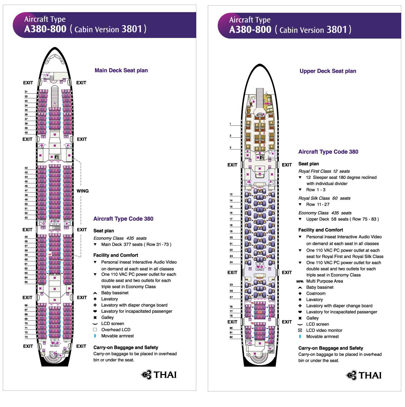 Thai Airways A380-800 Cabin Seating Plan