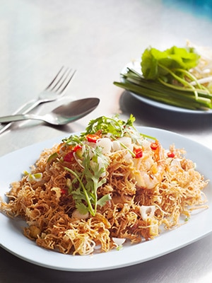 Thai Food - Thai Crispy Noodles in Sweet and Sour Sauce Mee Krob