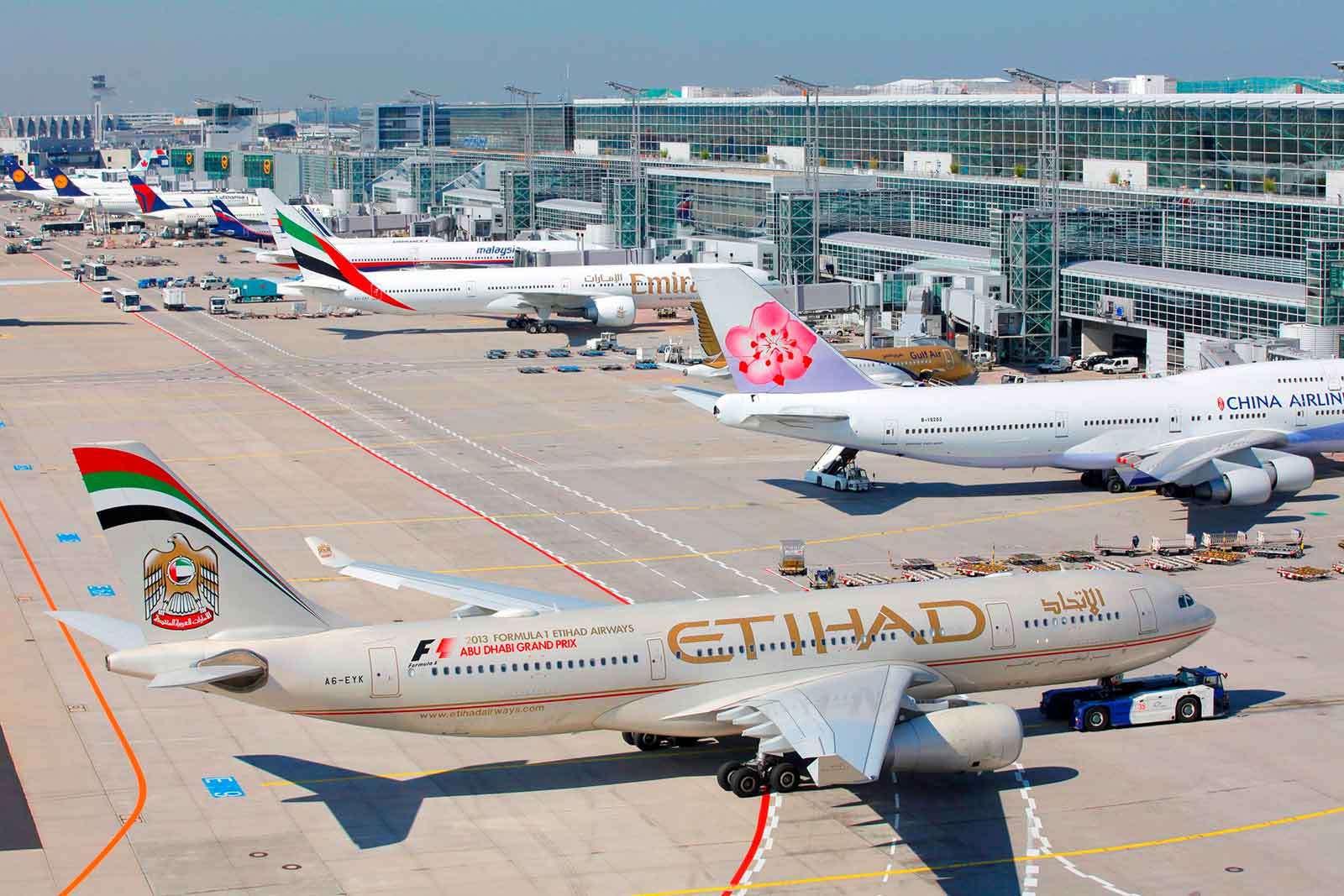 Etihad pushback at Fraport Gtoup Frankfurt Airport