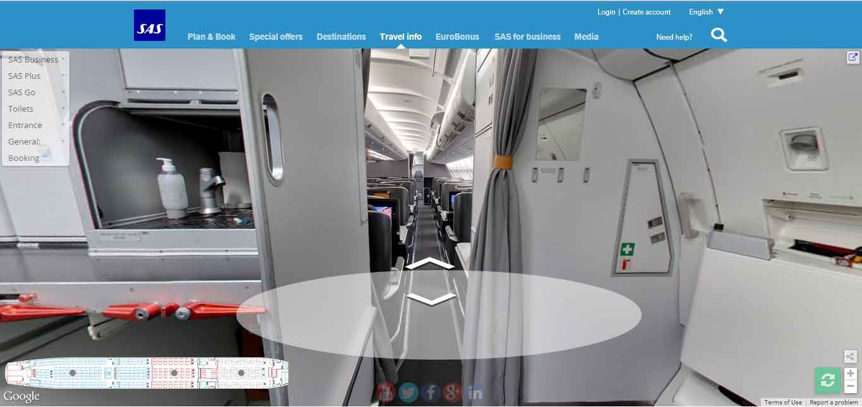 SAS Long Haul Cabin on Google Street View