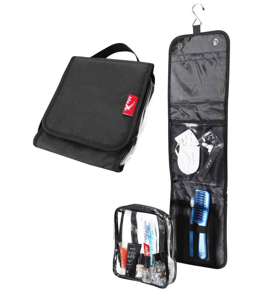 Hanging foldaway travel wash bag