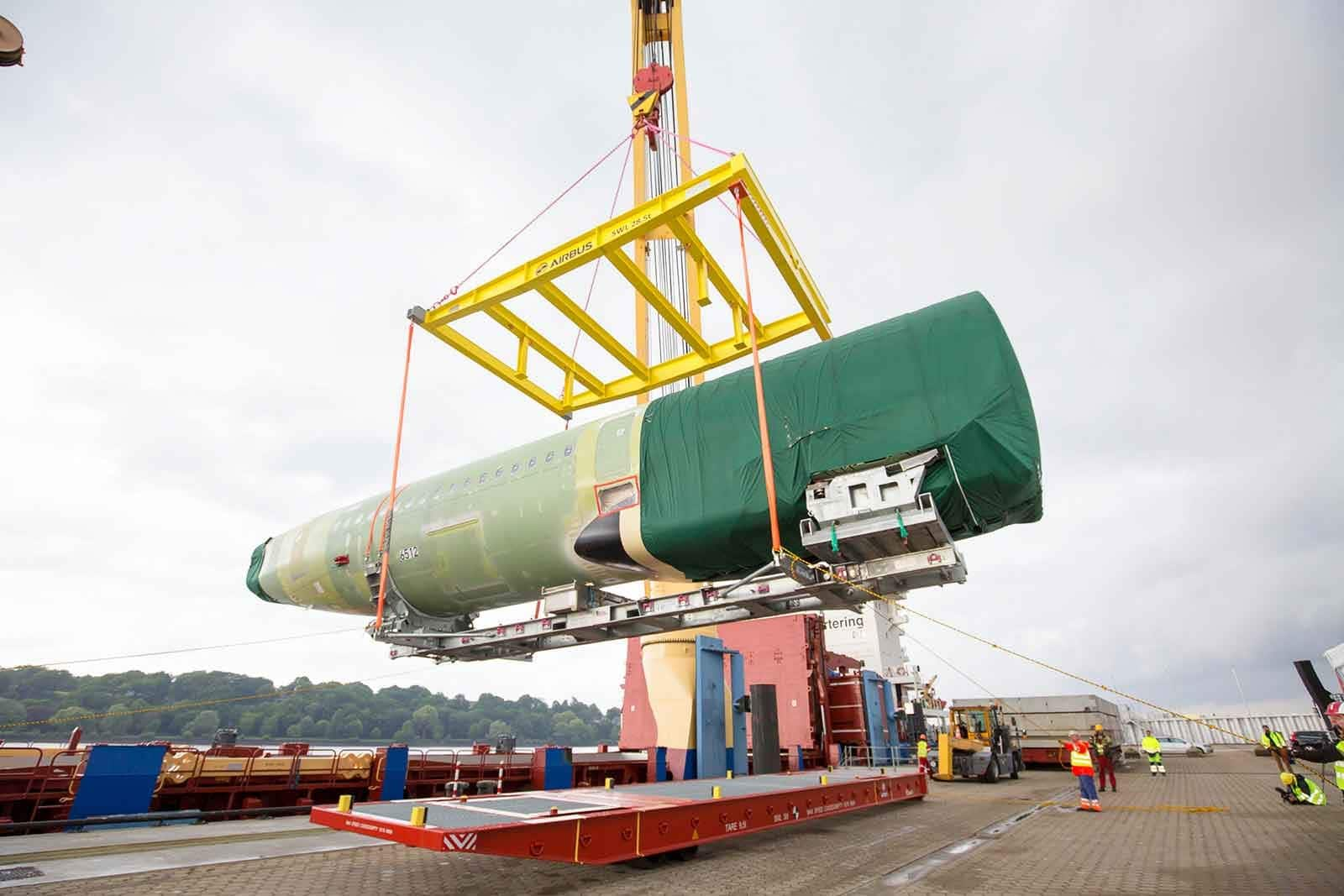 A rear fuselage section for the first A320 Family aircraft being shipped to Airbus in the USA