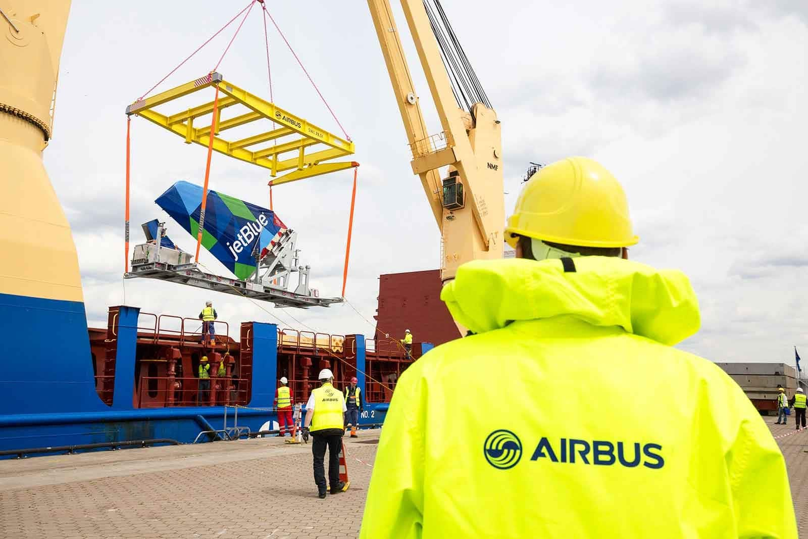 JetBlue Airbus Tail Fin on its way to Airbus USA Production Facility