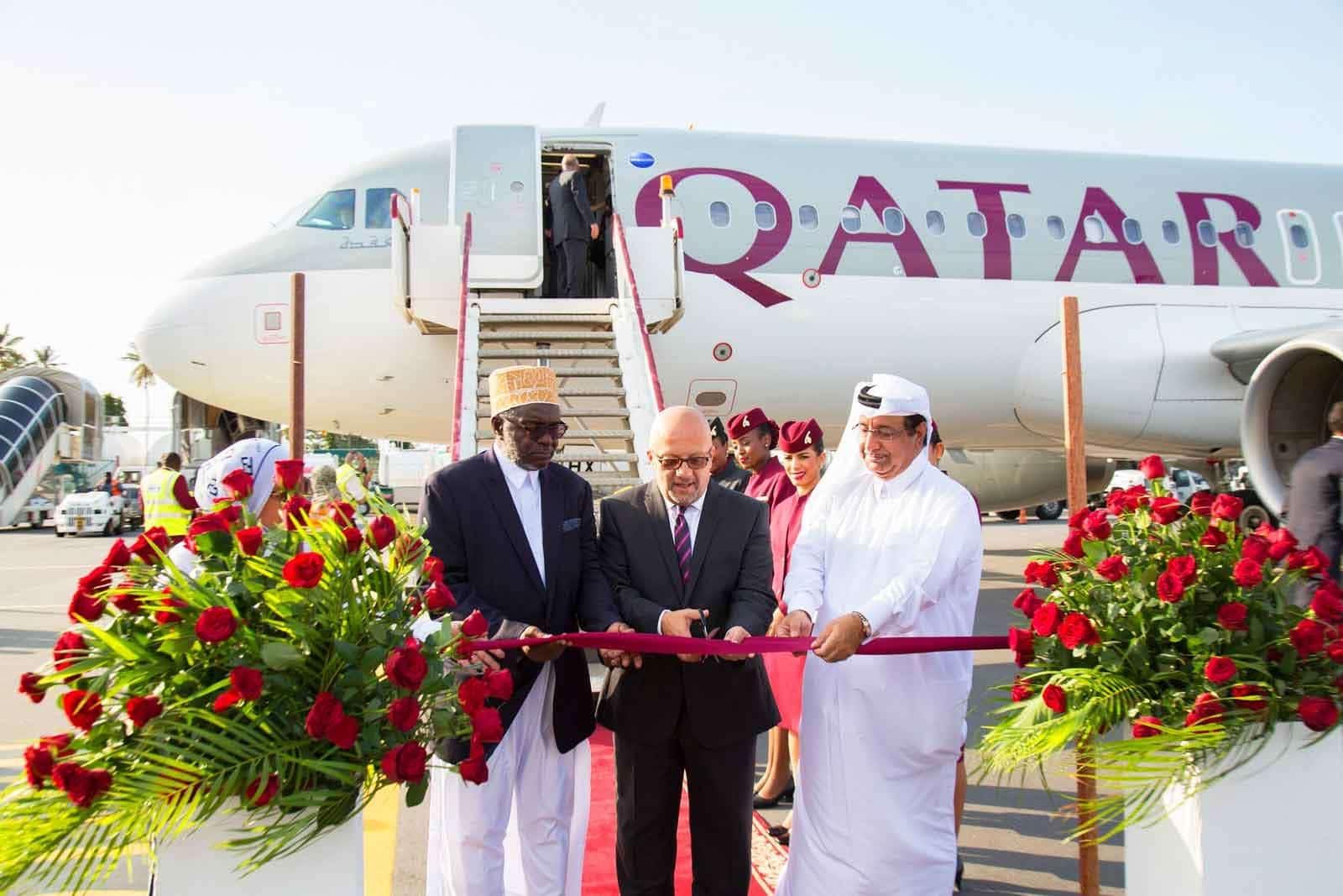 Qatar Airways ribbon cutting ceremony at Zanzibar
