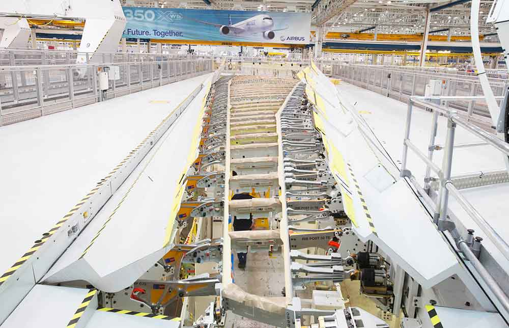 Airbus A350-1000 wing goes into production view from above
