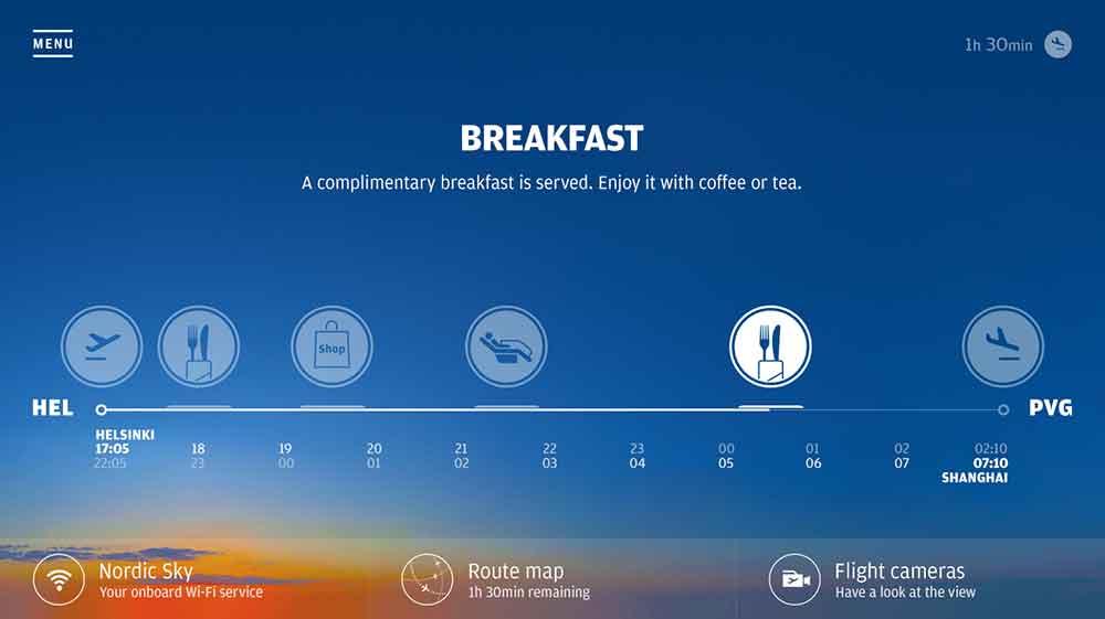 IFE breakfast meal information on Finnair A350
