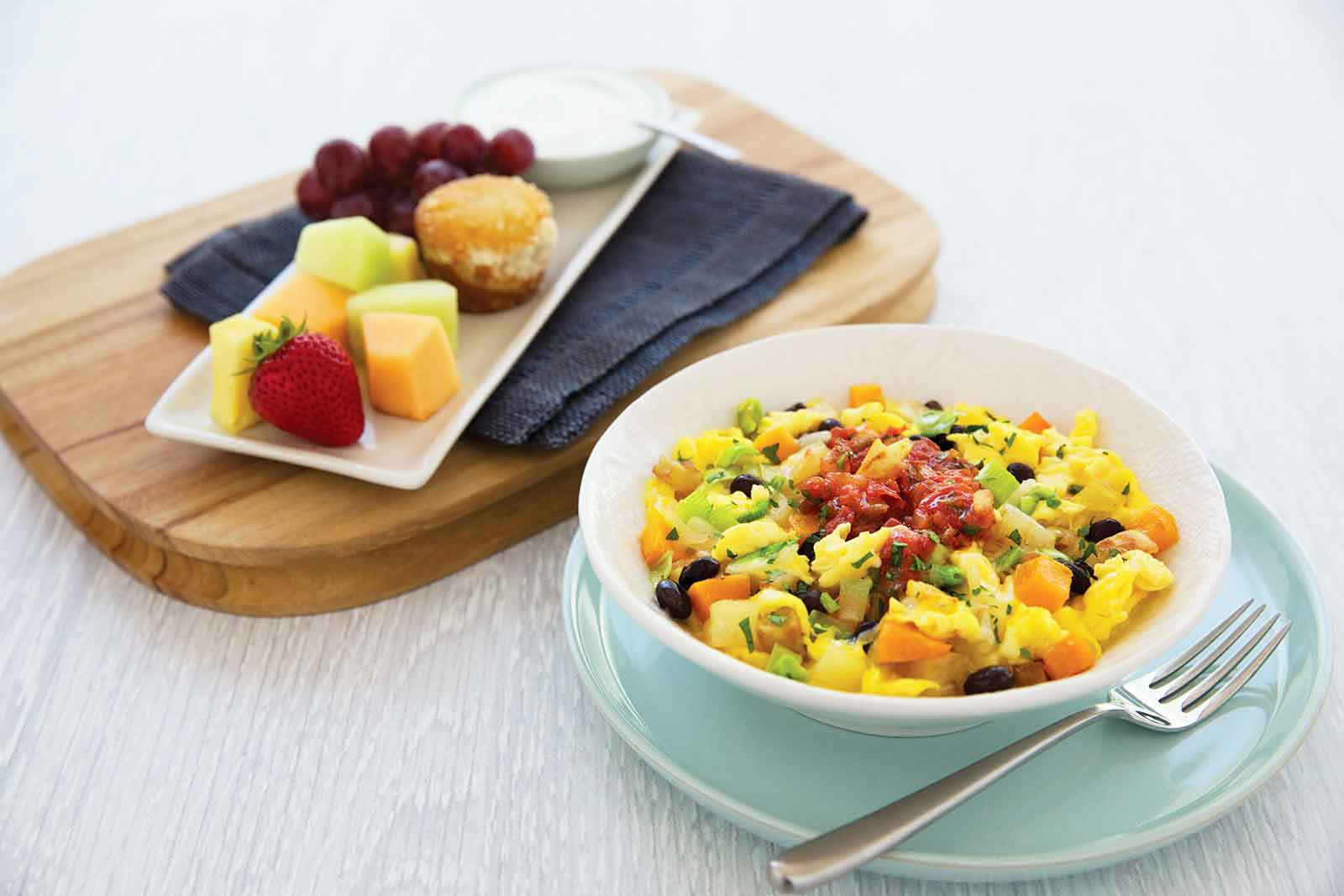 United Airlines Economy breakfast southwestern bistro scramble with black beans and butternut squash