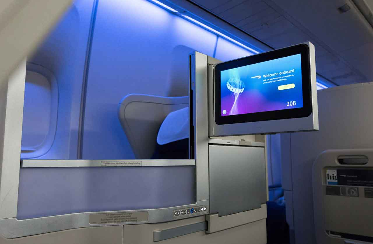 Club World IFE screen and inflight movies with 3d sound on British Airways