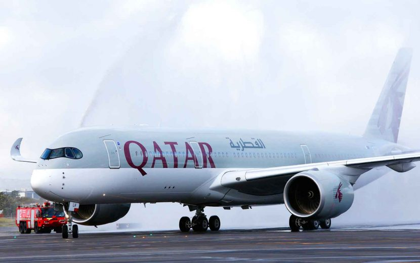 Qatar Airways arrives in Adelaide in style with their latest A350 aircraft