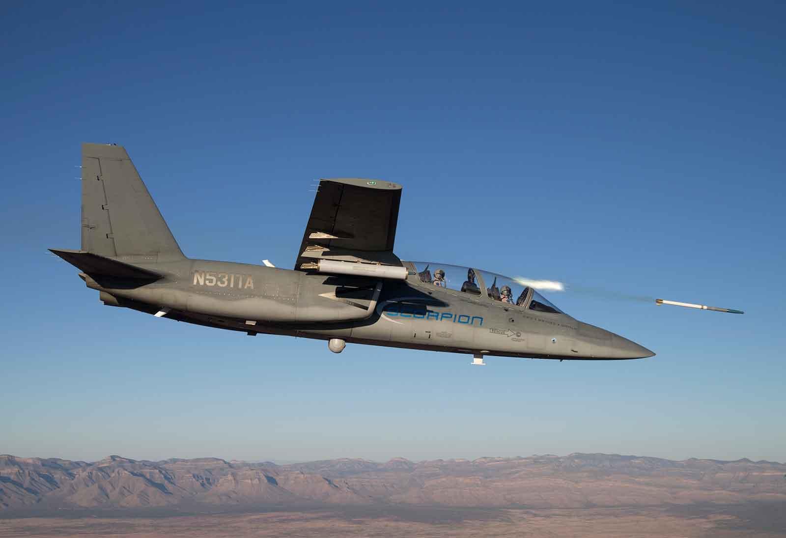 Scorpion jet releasing an APKWS rocket