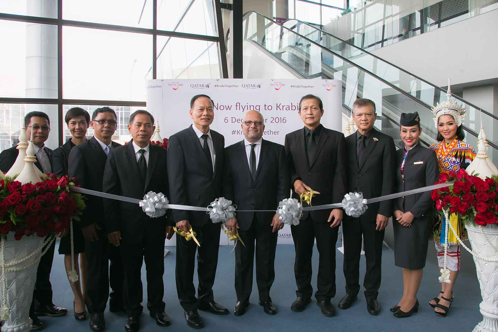 Senior officials from Qatar Airways, Krabi provincial government, Krabi International Airport and Tourism Authority of Thailand