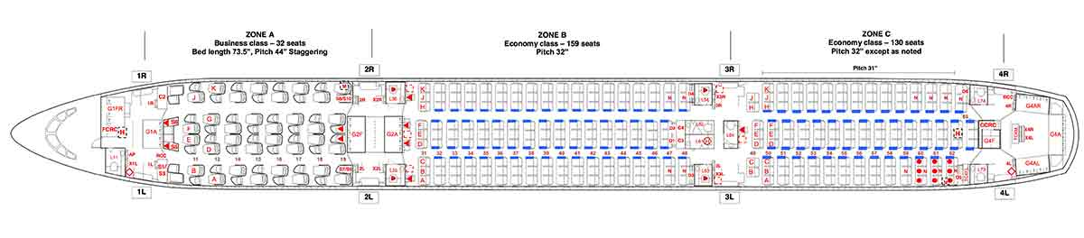Thai Airways A350-900 Seat Map