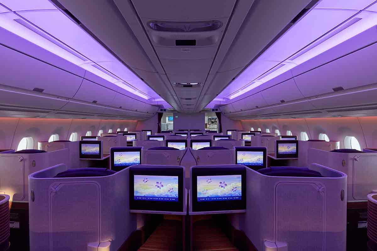 Thai Airways A350 Royal Silk Business class cabin seating