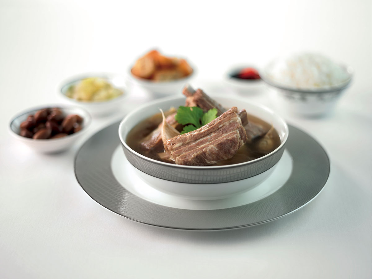 Singapore Airlines First Class food Bak-kut-teh