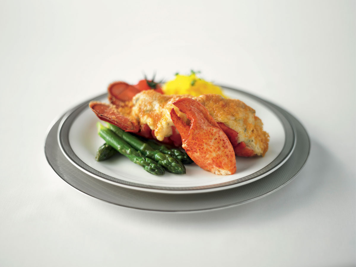 Singapore Airlines First Class food Lobster Thermidor