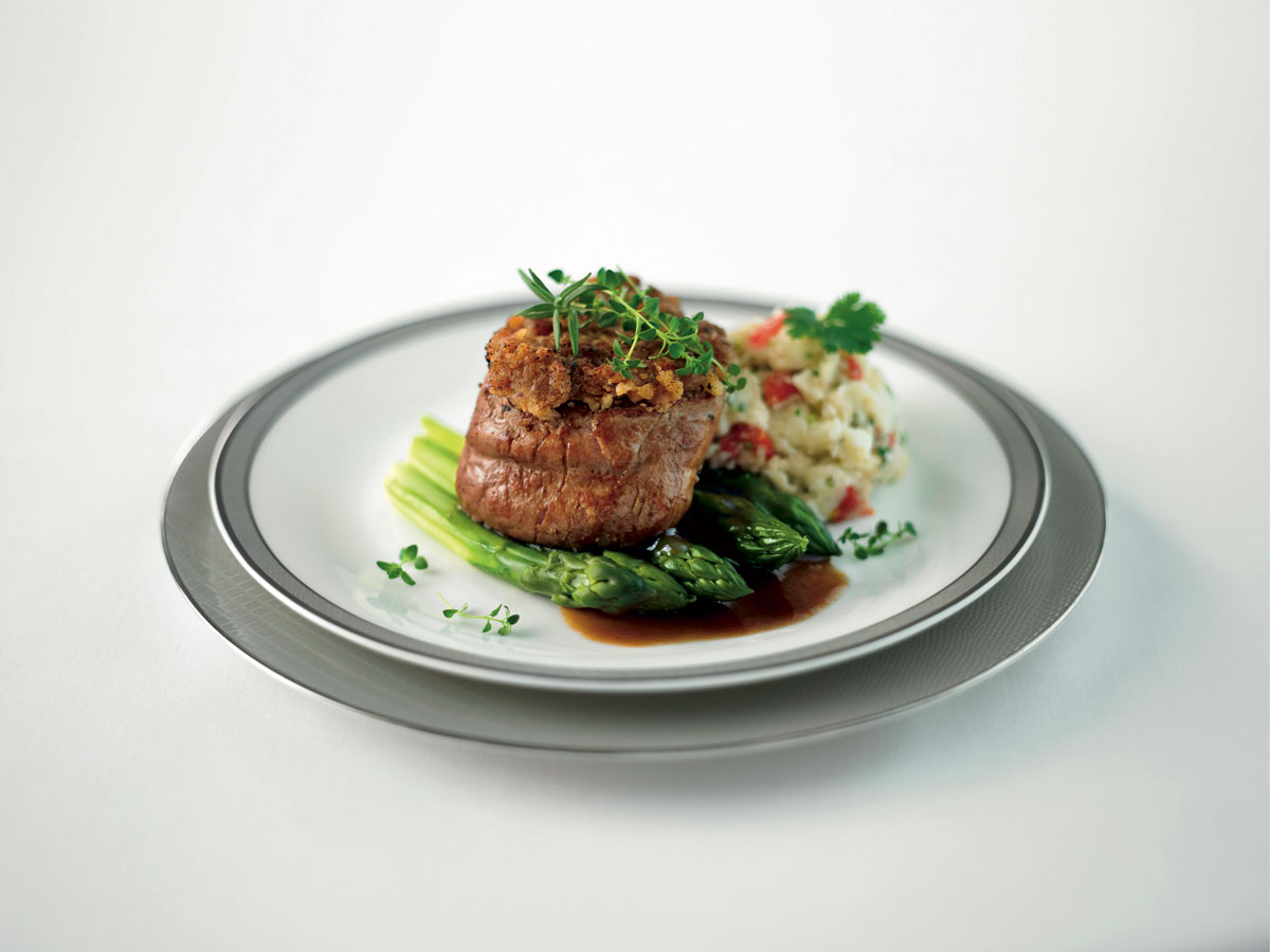 Singapore Airlines First Class food Nut Crushed Veal Fillet