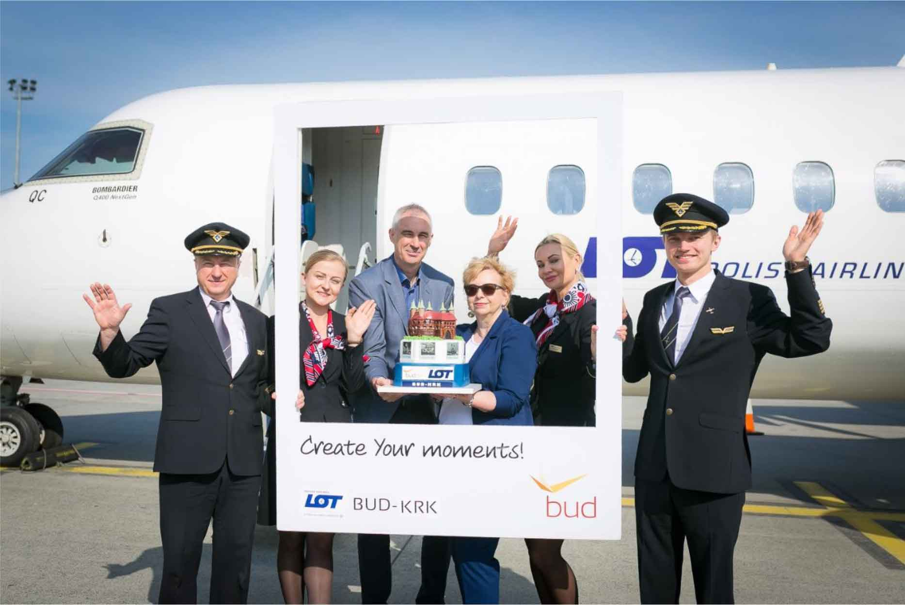 Budapest Airport new link inaugural flight of LOT Polish Airlines' service to Kraków