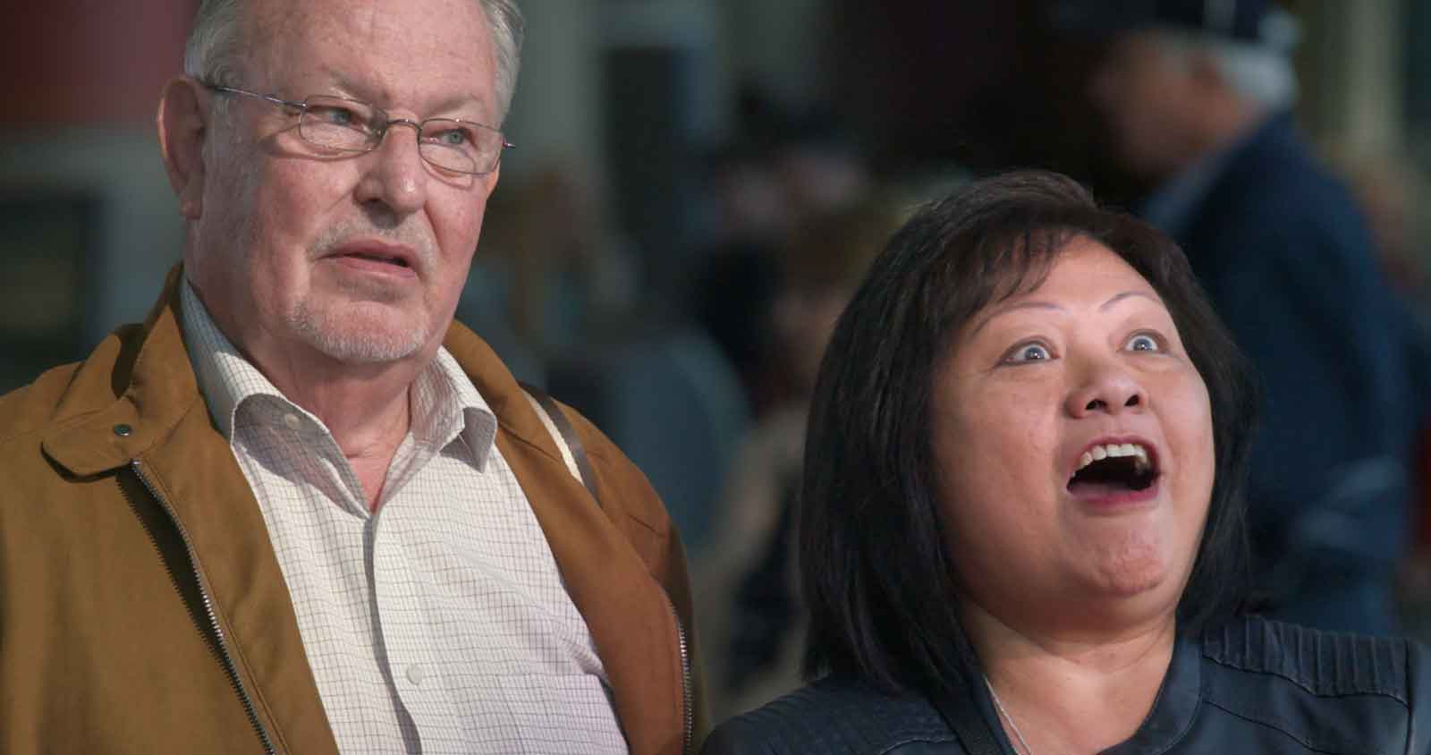Roger and Linda Johnson reaction to earning a Virgin Atlantic upgrade