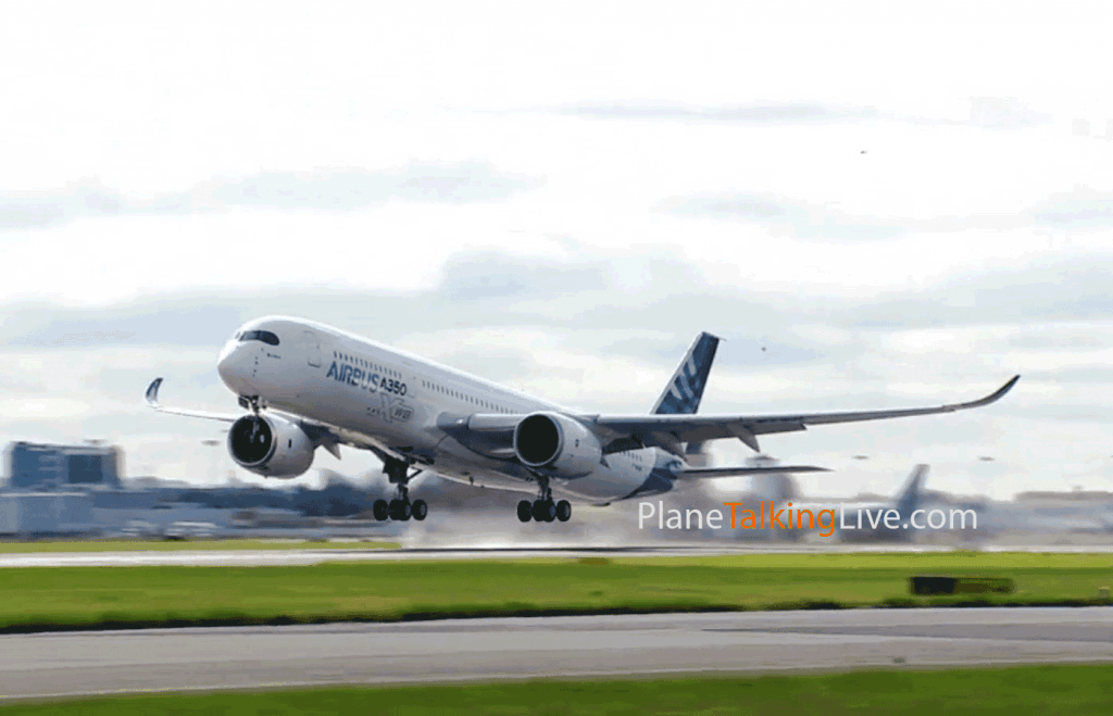 The Airbus A350 XWB takes to the air on its first flight