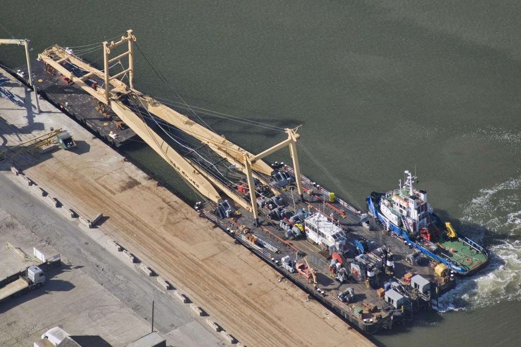 Aerial photo of lift platform preparing at Chatham to raise Dornier 17