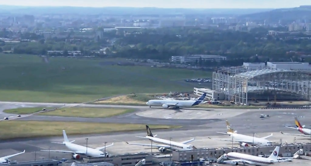 Airbus A350 XWB carrying out final checks before first flight in France