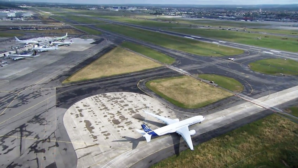 Airbus A350 XWB ready to taxi to runway at Tolouse