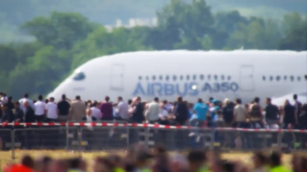 Airbus A350 staff turn out to watch first flight